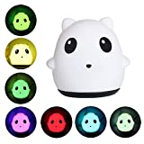 Auoker Panda Night Light, Sensitive Tap Control USB Rechargeable Children Night Lamp 7 Color Changeable Soft Silicon Bedroom Light for Babies Room, Living Room,Nursery,Outdoors