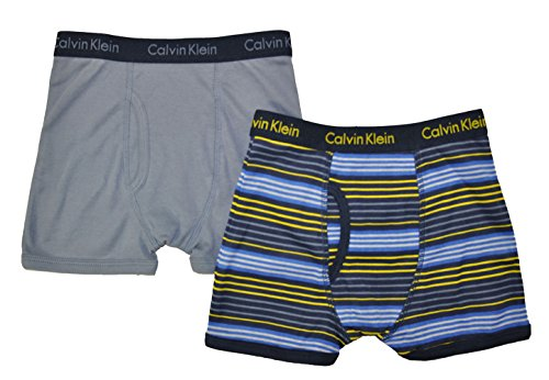 Calvin Klein Little/Big Boys' Assorted Boxer Briefs (Pack Of 2) (Blue/Yellow Striped, Large/12-14)