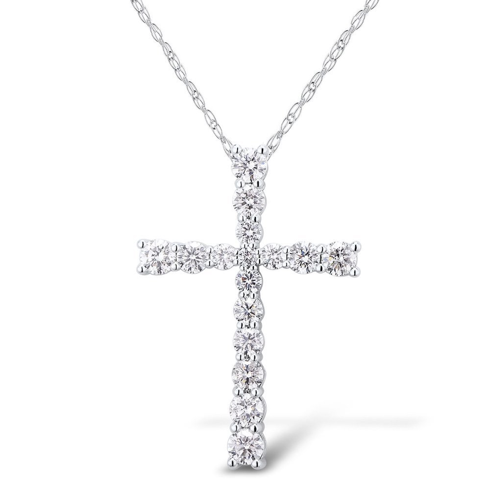 Diamond Cross Necklace 1 1/2 cttw in Rhodium Plated 14k White Gold Flared Style (HI, I1-I2) by Diamond Classic Jewelry (Image #1)