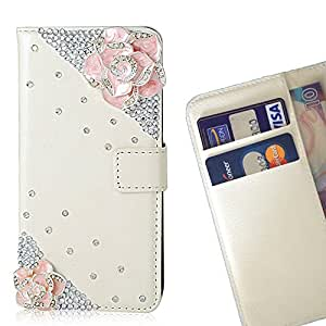 Pink Flower Crystal Diamond Waller Leather Case Cover 3D Bling For Huawei Mate S /- THE- /