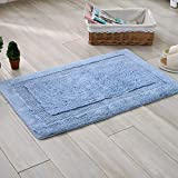 TOFERN 100% Cotton Chenille Shaggy Both-sides usable Rug Non-slip Absorbent Durable Skin-friendly Machine Washable Anti-fading Doormat Home Decor Carpet Entrance Mats, Blue, 40X60cm