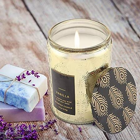 Ymiko Velas perfumadas Tarro Grande Vela Whisky de Vainilla Cera con Botella de Vidrio Transparente Velas de Fragancia Decorativa para el hogar Regalo para el estrés Relajación