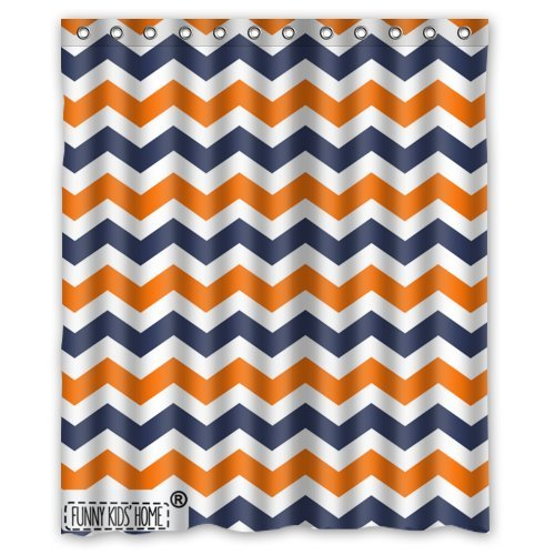 Navy Deep Blue Orange Chevron Personalize Custom Bathroom Shower Curtain Waterproof Polyester Fabric 60