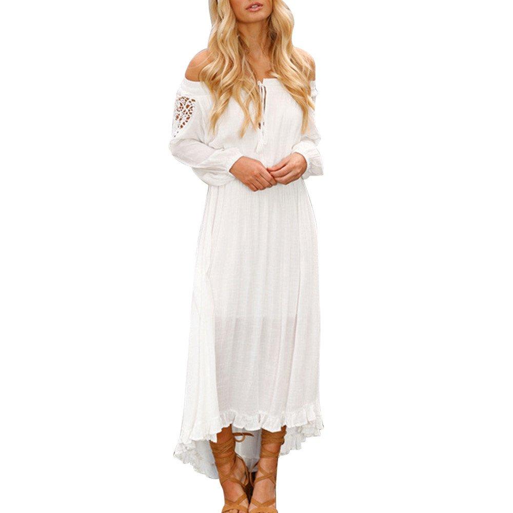 chengzhijianzhu Womens Summer Sexy Solid Off Shoulder Lace Up Patchwork Elastic Band Long Sleeve Dress Waistline Sundress White