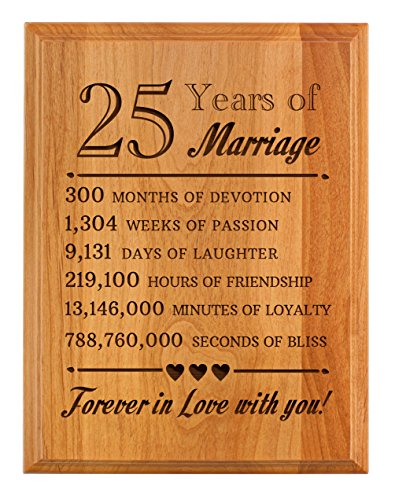 25th Wedding Anniversary Gifts Forever in Love with You 25th Anniversary Gifts 7x9 Oak Wood Engraved Plaque Wood