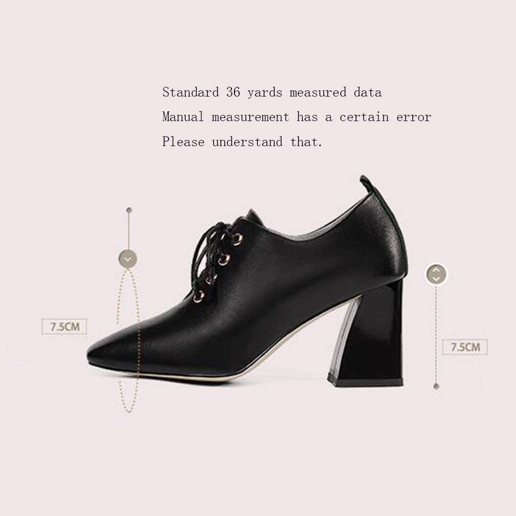 Damenschuhe Thick Heel Wild Leather Leather Leather High Heels Ladies Spring Fall New Square Head Lace-Up Deep Mouth Single schuhe,A,37 085625