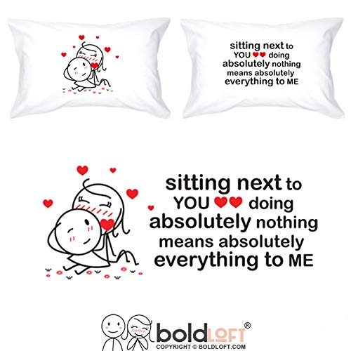 BoldLoft You Mean Everything to Me Couples Pillowcases for Him and Her|Anniversary Presents for Couples|His and Hers Gifts for Couples|Romantic Gifts for Girlfriend Boyfriend Couples Valentine's Day