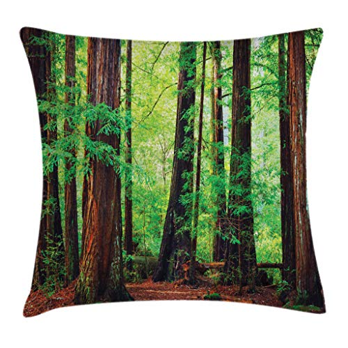 Ambesonne Woodland Throw Pillow Cushion Cover, Redwood Trees Northwest Rain Forest Tropic Scenic Wild Nature Lush Branch, Decorative Square Accent Pillow Case, 18 X 18 Inches, Green and Brown