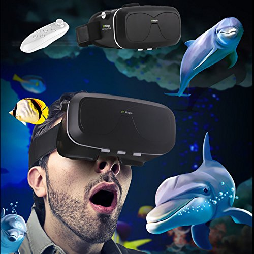 3D VR Headset/Glasses, Tsanglight Virtual Reality Headset with Remote for 4.0-6.0inches IOS/Android, for iPhone 7 7 Plus 6 6S Plus Samsung Galaxy S7 Edge S6 Edge S5 LG Sony etc Smartphones - Black