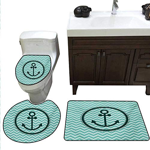 Anchor Bath mat and Toilet mat Set Horizontal Zig Zag Pattern Background Anchor Image Circle Shape Medallion Toilet mat Set Dark Green ()