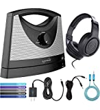 Serene Innovations TV SoundBox Wireless TV Speaker Bundle with Samson SR350 Headphones, 4' Aux Cable, Blucoil Slim 9V 1500ma Power Supply AC Adapter, 6' 3.5mm Extension Cable, and 5X Cable Ties