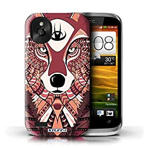 KOBALT? Protective Hard Back Phone Case / Cover for HTC Desire X | Wolf-Red Design | Aztec Animal Design Collection by lolosakes
