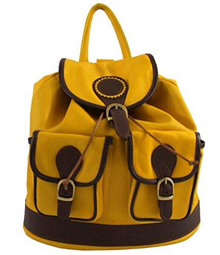 sac CTM véritable dos Jaune cuir par à 100 35x32x10cm Italy Made Donna in fwrqfd