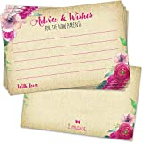 50 Baby Shower Advice Cards for a Girl - Baby Shower Games Idea, Rustic Pink Kraft Baby Girls Party Decorations or Guest Book Alternative