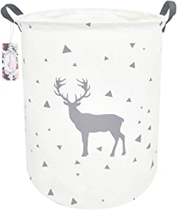 "TIBAOLOVER 19.7"" Large Sized Waterproof Foldable Laundry Hamper Bucket,Dirty Clothes Laundry Basket, Bin Storage Organizer for Toy Collection,Canvas Storage Basket (Grey Triangle and Deer)"