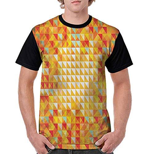 (Vintage T-Shirt,Triangles Squares Mosaic Fashion Personality Customization)