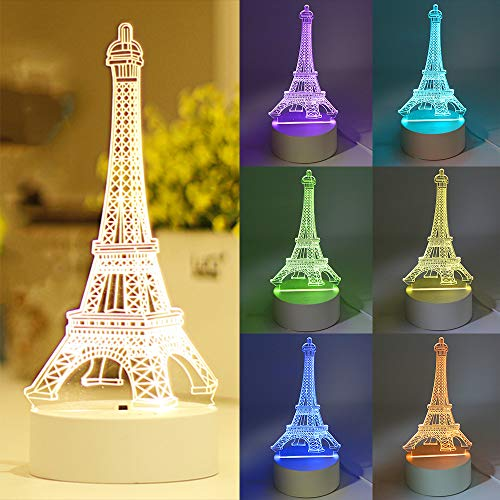 3D Illusion Platform Night Light, Eiffel Tower 7 Colors Decor Remote Control 3D Night Touch Button Lamp for Kiddie Kids Children Family Holiday Birthday Gift (Eiffel Tower)