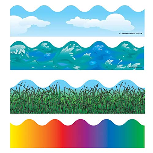 Carson-Dellosa Scalloped Variety Border Set I: Clouds, Grass, Rainbow, Ocean Waves