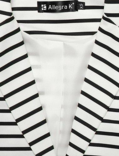 Allegra Bouton Dame White Fermeture Rayures Blazer Revers Cranté K WWSnBC