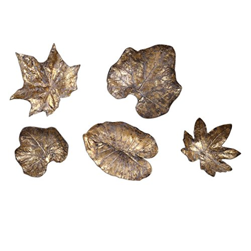 Elegant Metal Leaf 5 Piece Wall Art Set | Bronze Natural Gold (5 Piece Natural Wrought Iron)