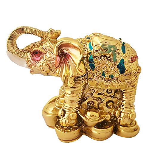 - Divya Mantra Feng Shui Trunk up Bejeweled Elephant on Wealth Bed for Wish Fulfillment