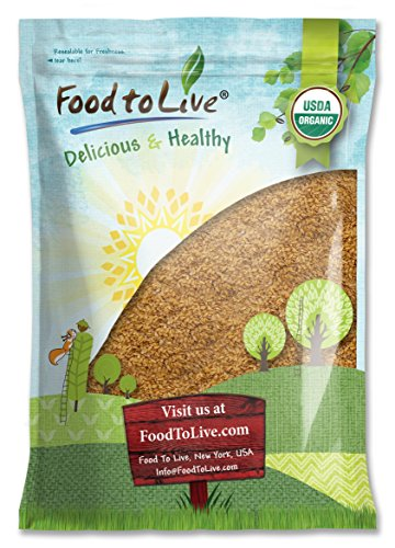 Organic Golden Flaxseed (Whole, Raw, Non-GMO, Kosher, Bulk) by Food to live — 8 Pounds