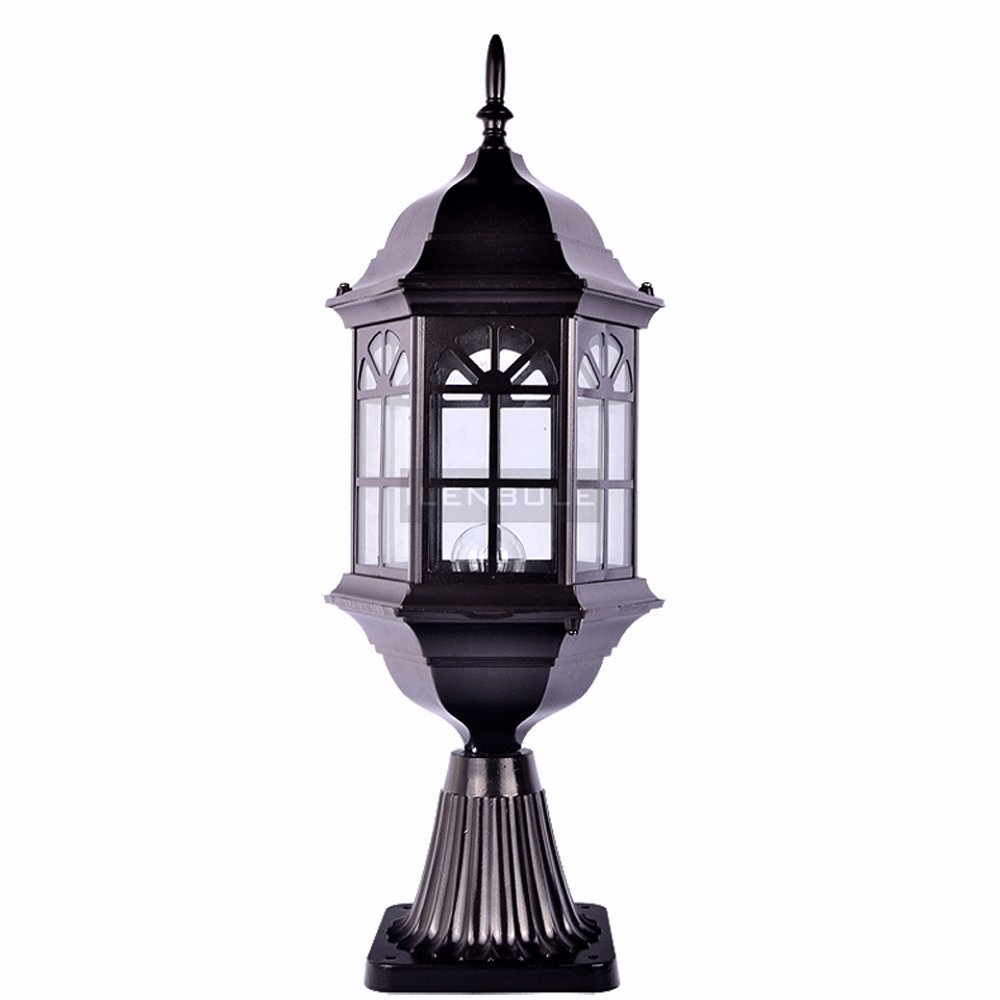 Modeen 54CM Continental Creative Black Glass Outdoor Table Lamp Column Lamp Modern Simple Waterproof Desk Table Lawn Lights Street Post Light E27 Decoration for Patio Villa Fence Gate
