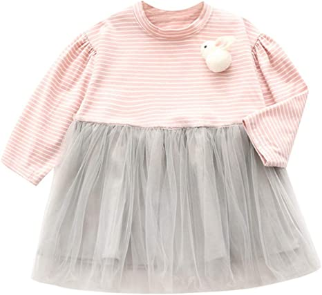 Topgrowth - Vestido para niña, Estilo Informal, a Rayas, Vestido ...