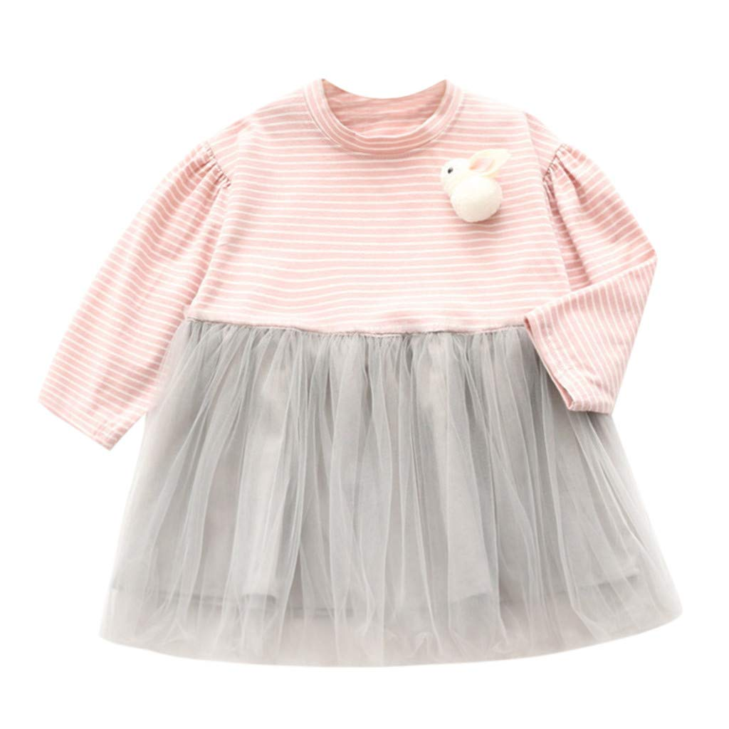 NUWFOR Toddler Kids Baby Girls Dress Rabbit Stripe Splice Tulle Party Princess Dresses(Pink,3-4 Years)