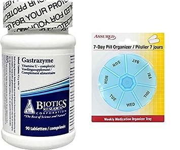 Biotics Research Gastrazyme (complejo de vitamina U) 90T con organizador de píldora de 7