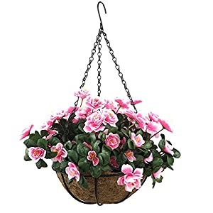 Lopkey Outdoor Artificial Red Azalea Bush Flower Patio Lawn Garden Hanging Basket with Chain Flowerpot,Pink 58