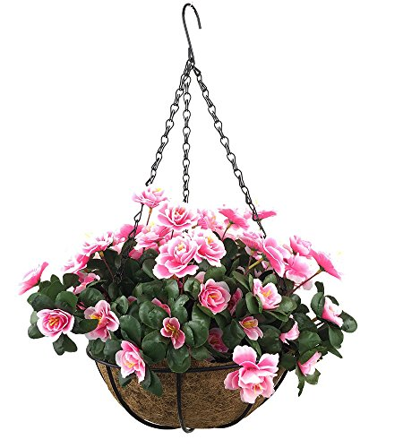 Lopkey Outdoor Artificial Red Azalea Bush Flower Patio Lawn Garden Hanging Basket with Chain Flowerpot,Pink