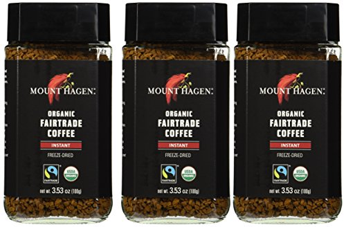 Mount Hagen: Organic café liofiliza Café Instantáneo (Pack of 3 x 3,53 oz) (Pack of 3)