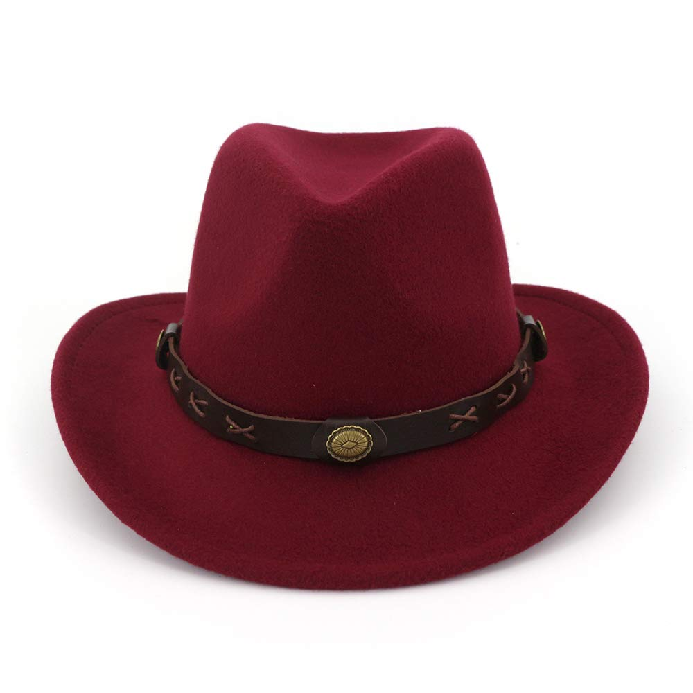a1f84a54 Women's Wide Brim Wool Fedora Hat Trendy Fall & Winter Panama Cowboy Hat  with Belt