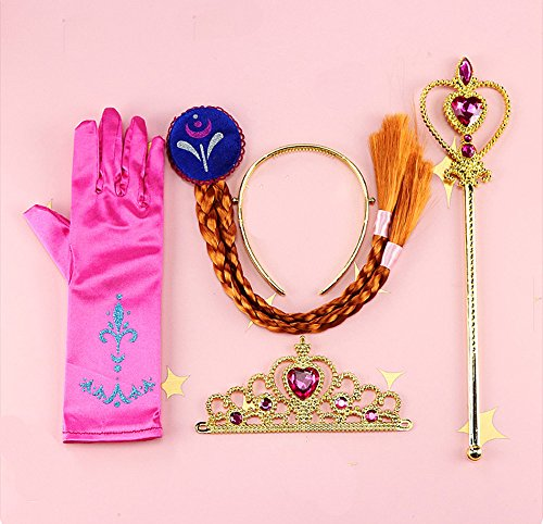 Frozen Costume S (Costume Wigs 4pcs Set for Girl Performance Pretend Game Props Accessories Frozen Princess Dress Up Crown/Glove/Magic Wand/Braid (Hot pink 2))
