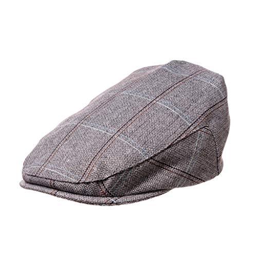(Born to Love - Boy's Tweed Page Boy Newsboy Baby Kids Driver Cap Hat(XS 49 cm) Grey Blue)