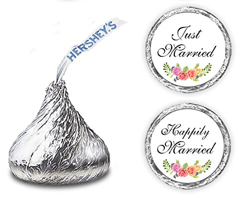 324 Floral Roses Just Married Happily Married. Hershey Kiss Wedding Stickers, Chocolate Drops Labels Stickers for Weddings, Bridal Shower Engagement Party, Hershey's Kisses Party Favors