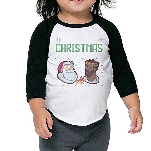 Wons Girl's Santa Vs Jesus Holiday Gear Humor Kindergarten Black Cute Shirts 4 Toddler Crew Neck 1/2 Sleeve Raglan T-Shirt -