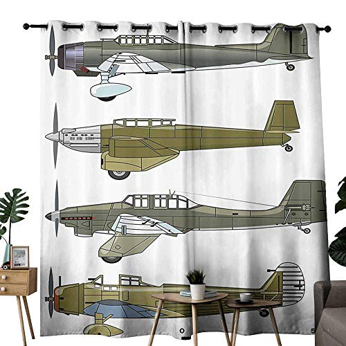 Airplane Noise Reduction Curtain Thirties Style Dive in Camouflage Colors Historical Airshow Planes Design Noise Reducing W120 x L96 Green Grey ()