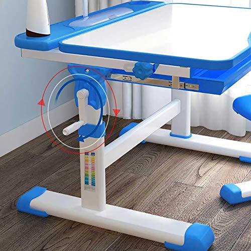 LIUNN Barnskrivbord, stol och lådor, höjdjusterbar, med lampa, lutning justerbar, blå, blå