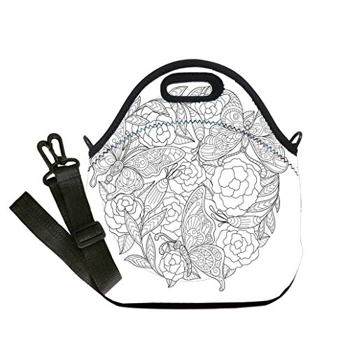 Custom Digital Printing Insulated Lunch Bag,Neoprene Lunch Tote Bags Hand drawn Butterfly and rose background for adult coloring page Lunch Bag- Insulated and Reusable Artful Design -