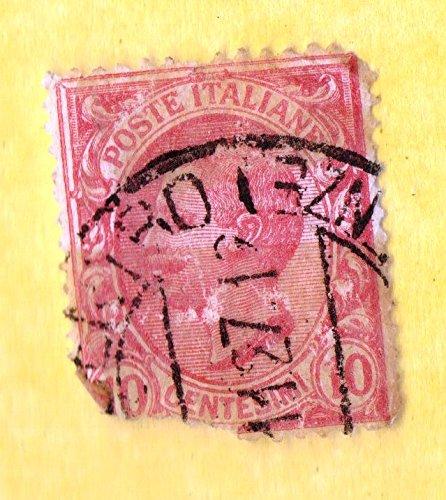 Used Italy Postage Stamp (1906) - 10c KING EMMANUEL (damaged) - Scott # 95 ()
