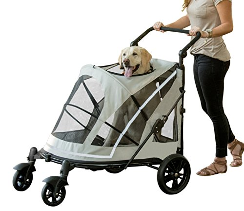 Pet Gear NO-ZIP Stroller, Push Button Zipperless Dual Entry, for Single or Multiple Dogs/Cats, Pet Can Easily Walk In/Out, No Need to Lift Pet (Expedition Single)
