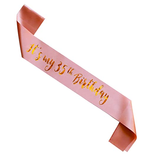 0347127f4 Amazon.com: MAGJUCHE It's My 35th Birthday sash, Rose Gold Girl 35 Years Birthday  Gifts Party Supplies, Women Pink Party Decorations: Toys & Games