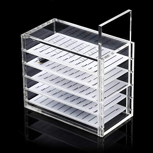 Acrylic 5 Layers Clear Eyelash Storage Box, Makeup Display Container, Eyelashes Tools Adhesive Glue Pallet Holder Case Grafting, Eyelash Grafting Extension Tool Supplies