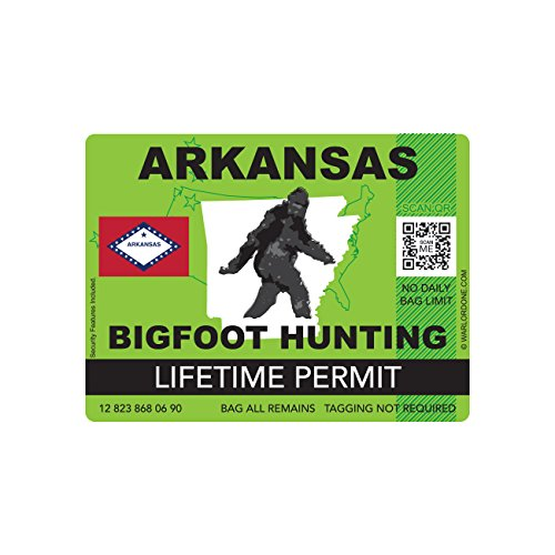 Arkansas Bigfoot Hunting Permit Sticker Die Cut Decal Sasquatch Lifetime FA Vinyl