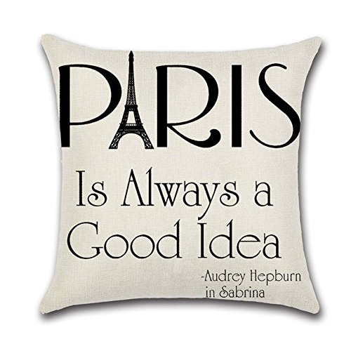 Throw Pillow Case, ForeverCase Cotton Linen Decorative Pillowcase Throw Pillow Cushion Cover Paris is Always a Good Idea Square 18x18 Inch ()