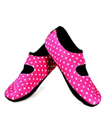 Mary Janes Women's Shoes, Best Foldable & Flexible Flats, Slipper Socks, Travel Slippers & Exercise Shoes, Dance Shoes, Yoga Socks, House Shoes, Indoor Slippers, Pink Polka Dots, Small