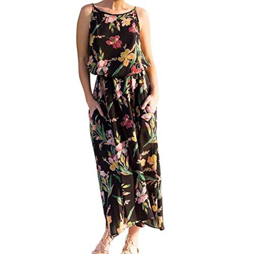 Caopixx Beach Dress,2018 Women Maxi Boho Floral Dress Summer Beach Long Dresses Sleeveless Halter Dress (Asia Size M, Black)
