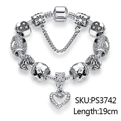 925 Unique Silver Crystal Charm Bracelet For Women Diy Beads Bracelets & Bangles Jewelry Gift 19CM PS3742